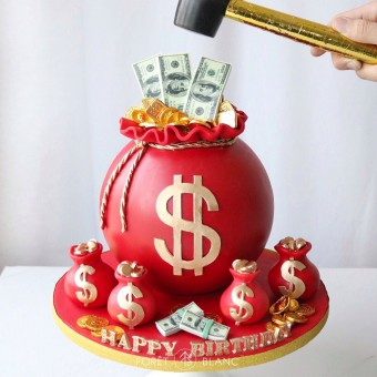 Red Money Bag Chocolate Pinata
