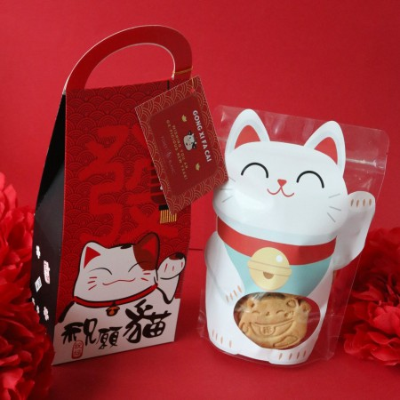 Neko Cat Fortune Honey Cookie + Box Packaging